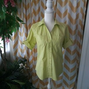 Chicos Size 0 Lime Green Cotton Button Up top